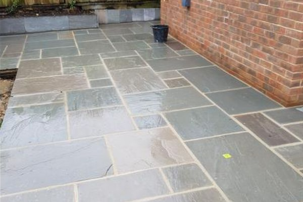 more landscaping in Gawber - image shows garden patio we installed